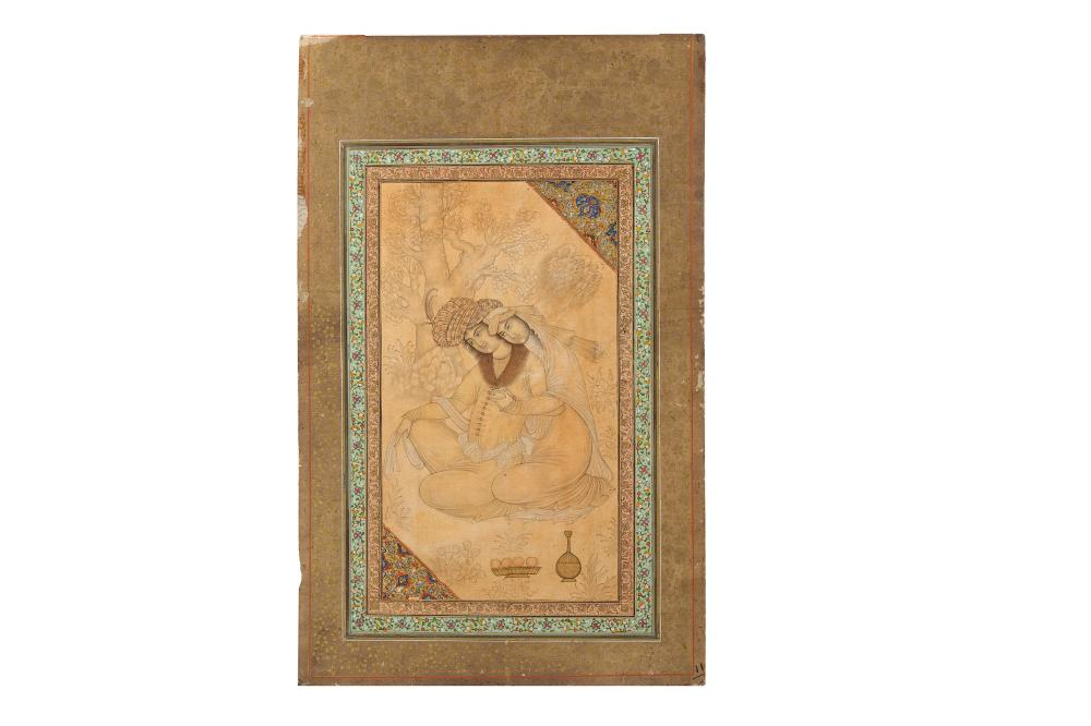 AN ARCHAISTIC SAFAVID-REVIVAL TINTED DRAWING OF TWO LOVERS Iran, 19th century