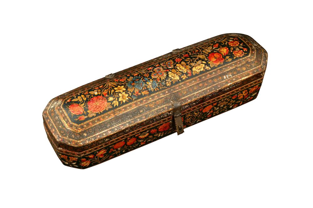 A KASHMIRI LACQUERED PAPIER-MÂCHÉ CALLIGRAPHER'S TOOLS AND PEN CASE Kashmir, Northern India, mid to late 18th century