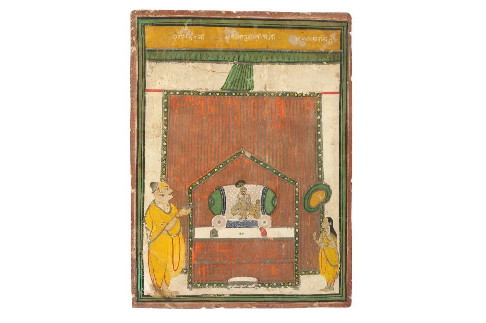 A DEVOTIONAL SCENE AT A SHRI NATHJI SHRINE Possibly Nathdwara, Rajasthan, North-Western India, late 18th - 19th century