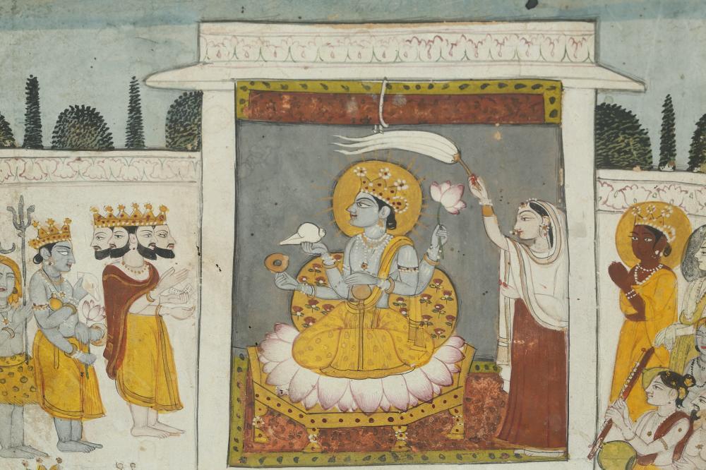 PAYING RESPECT TO VISHNU, THE HINDU GOD OF PRESERVATION Possibly Bundi, Rajasthan, North-Western India, 19th century