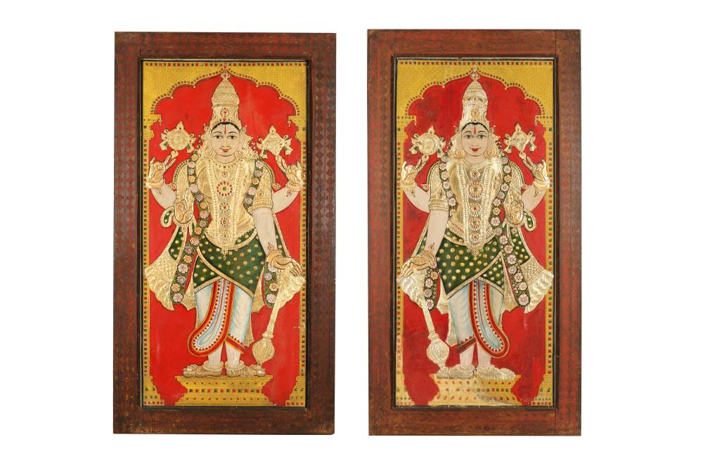 A PAIR OF DEVOTIONAL STANDING PORTRAITS OF HINDU DEITIES Thanjavur (Tanjore), Tamil Nadu, South India, mid to late 19th century
