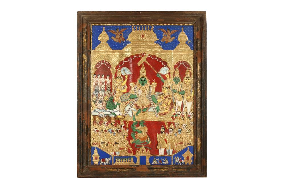 AN ENTHRONEMENT SCENE WITH LORD RAMA AND HIS CONSORT SITA Thanjavur (Tanjore), Tamil Nadu, Southern India, 19th century