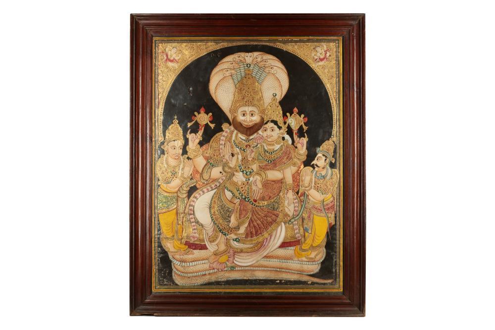 THE FOURTH AVATARA OF VISHNU, NARASIMHA, AND HIS CONSORT, LAKSHMI, THE GODDESS OF WEALTH Mysore (Mysuru), Karnataka, South-Western India, 19th century