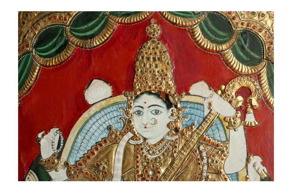 THE ENTHRONED HINDU GODDESS OF KNOWLEDGE AND ART, SARASWATI Thanjavur (Tanjore), Tamil Nadu, South India, mid to late 19th century