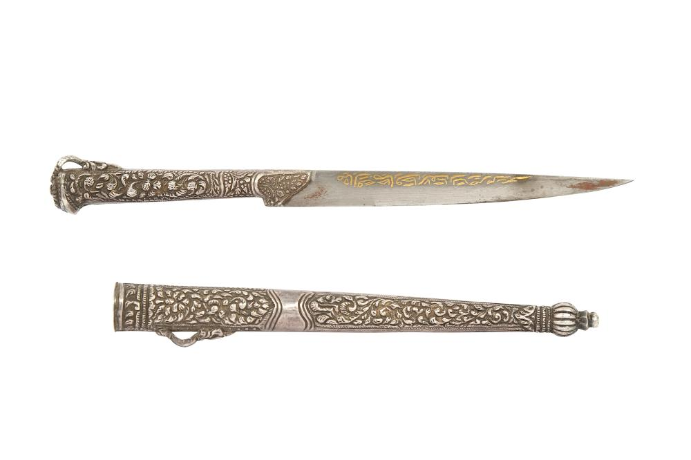 A SILVER AND GOLD-DAMASCENED STEEL FRUIT DAGGER Ottoman Provinces, 19th century
