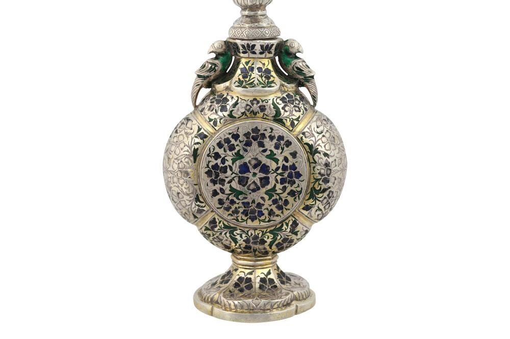 A SILVER-GILT AND ENAMELLED ROSEWATER SPRINKLER (GULAB PASH) Lucknow, Northern India, 19th century