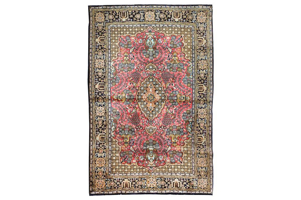 A VERY FINE SILK QUM RUG, CENTRAL PERSIA