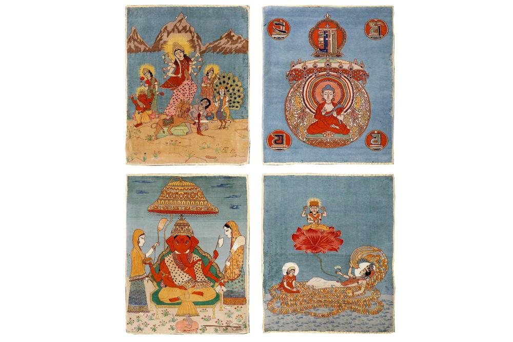AN UNUSUAL FOUR INDIAN PICTORIAL MATS