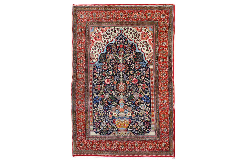 A VERY FINE QUM PRAYER RUG, CENTRAL PERSIA