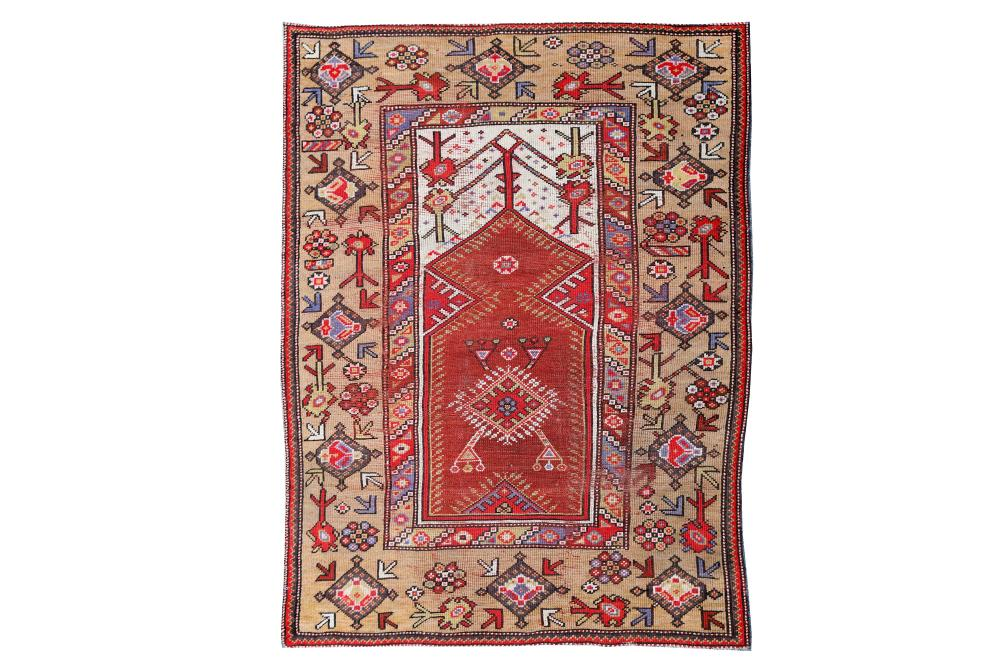 AN ANTIQUE MELAS PRAYER RUG, TURKEY