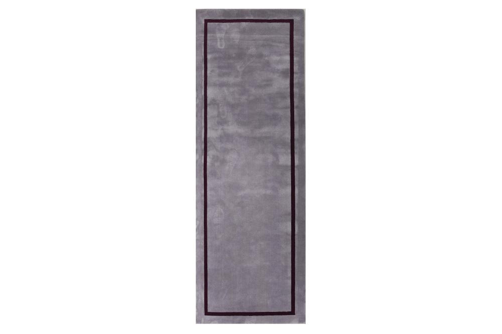 "A contemprary faux silk ""Sylka"" mauve carpet runner with aubergine border 120cm x 500cm"