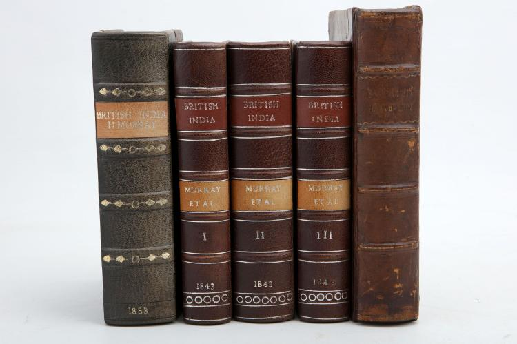 INDIAN MISCELLANY - Historical and Descriptive Account of British India. Edinburgh: Oliver & Boyd, 1843. 3 volumes, 8vo. Engraved titles, folding map (light browning). Later brown half morocco (lightly rubbed). Provenance: Elphinstone Carberry Tower (bookplate),