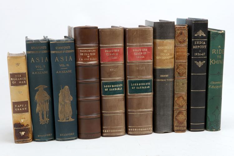 INDIAN MISCELLANY - A collection of works including Henry St. George Tucker's Memorials of Indian Government (London: Richard Bentley, 1853) and William Robertson's An Historical Disquisition Concerning The Knowledge which the Ancients Had of India (London,1817), most bound in later calf. (10)