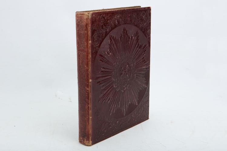 ALBUM - An album of narrative and topographical watercolours and engravings tipped onto leaves extracted from Tombleson's Thames (occasional spotting), bound in 19th-century burgundy leather-effect cloth, elaborately embossed with sunbursts to the covers, gilt edges (rubbed).