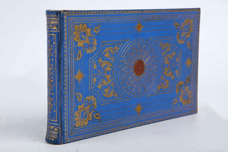 KERR, Louisa (1800-85).  A small decorative case, c.1835, containing leaves with various inscriptions including an Ms by the astronomer Caroline Herschel (1750-1848), stating,