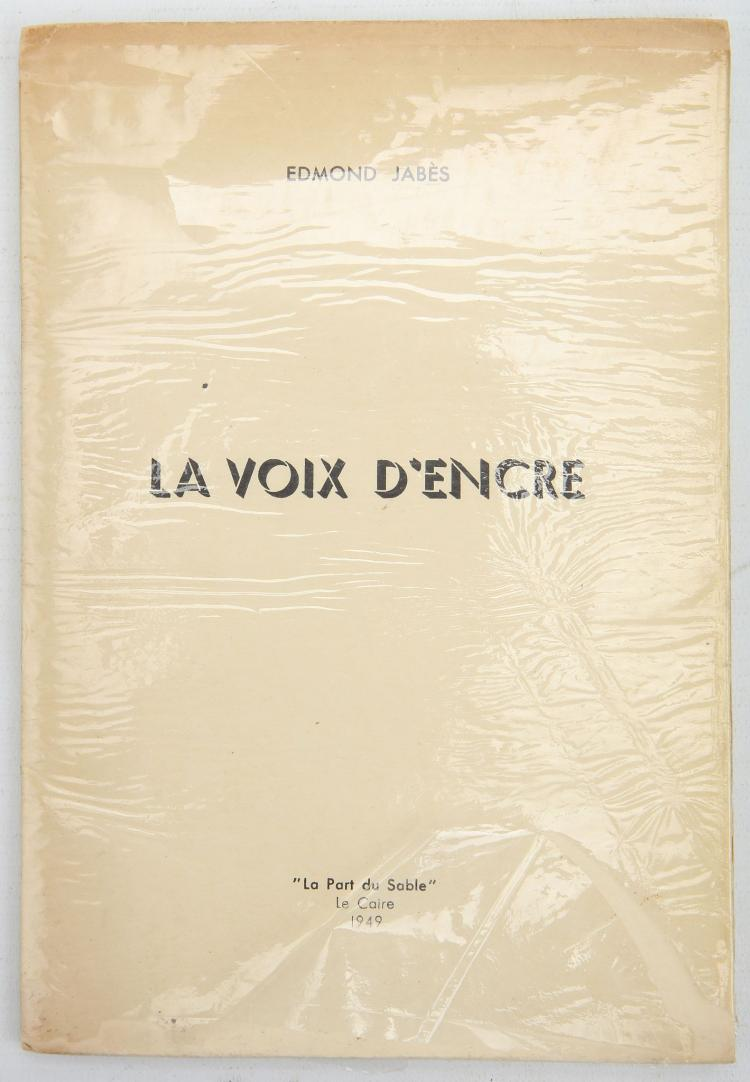 JABES, Edmond (1912-91). La Voix d'Encre. Le Caire: