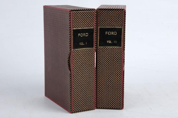 FORD, Richard (1796-1858).  A Hand-Book for Travellers in Spain, and Readers at Home. Describing the Country and Cities, the Natives and their Manners. London: John Murray, 1845. 2 parts in 2 volumes, 8vo. Half titles, printed largely in double column, folding engraved map mounted on linen at the end of vol. one, and another in a pocket at the end of vol. II, 24-pages of publisher's advertisements printed on blue paper at the end of vol. II. Original red cloth lettered in gilt and ruled in blind (faded, some wear to joints, bumped, some light staining), contained in modern boxes. Provenance: Library of the Institute of Accountants and Actuaries in Glasgow (bookplates); J. C. Knox (old signatures on titles). FIRST EDITION. (2)