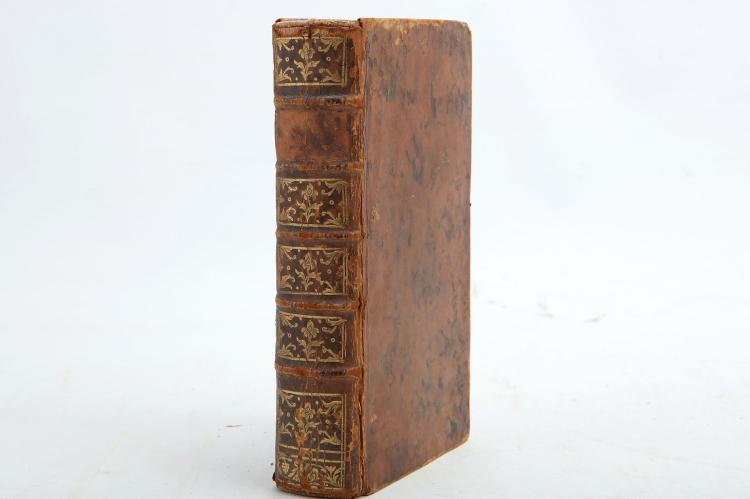 BENOIST, Francois-Albine Puzin de la Martiniere (c. 1724-89).  Agathe et Isidore. Amsterdam & Paris: chez Durand, 1768. 2 volumes bound in one, 8vo. 2 engraved titles, headpieces, ornaments (some spotting and staining). Contemporary calf, spine gilt in compartments, red edges (spine rubbed and lacking lettering-piece, joints splitting, rubbed). [?]FIRST EDITION. RARE. No copy recorded in The British Library.