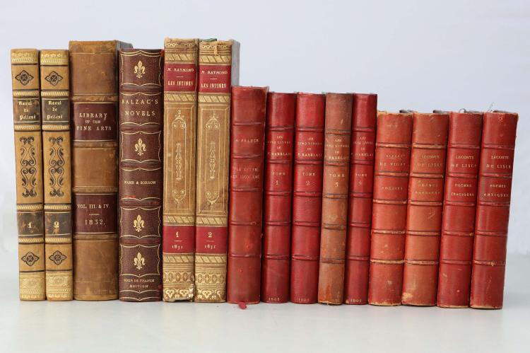 BINDINGS - Les Cinq Livres de F. Rabelais. Paris: Librairie des Bibliophiles, 1885. 4 volumes, 8vo. (Occasional light spotting.) Contemporary red morocco (one spine faded). Provenance: John Cunn Bailey (bookplate). With a small collection of bindings. (15)