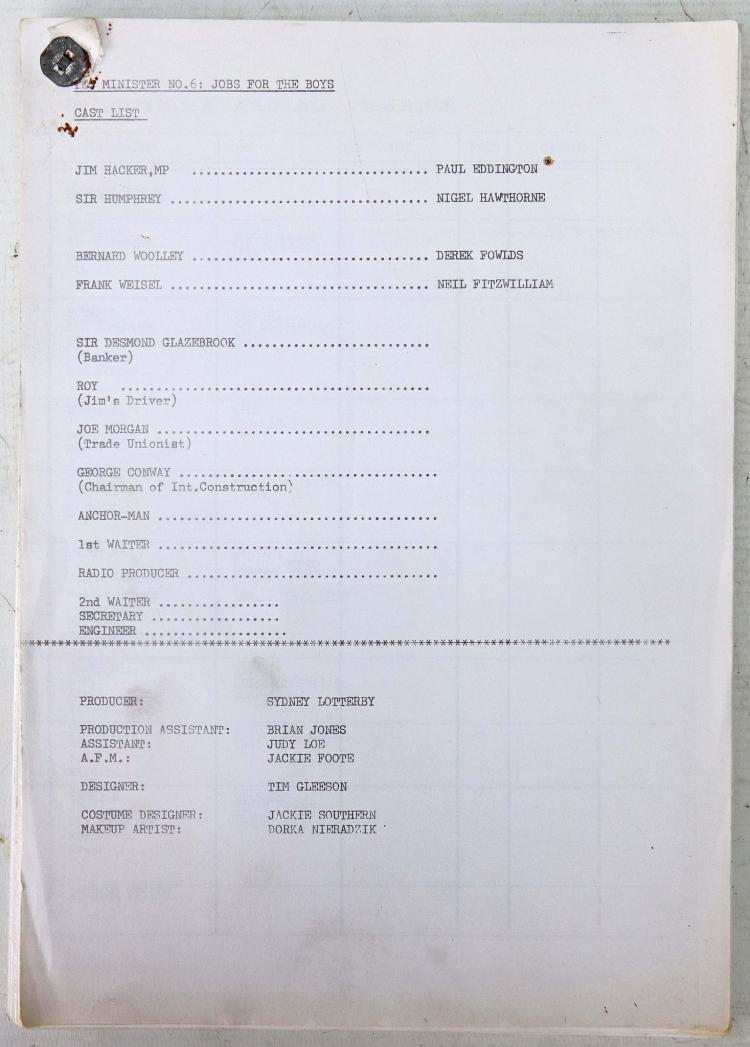 CAMERA SCRIPT - Yes Minister No. 6: Jobs For the Boys. (1980), and 2 rehearsal scripts for the same with notes by actor Robert Goodman, who appeared in the episode as a waiter. Provenance: From the Collection of Robert Goodman, who has signed two of the scripts. (3)
