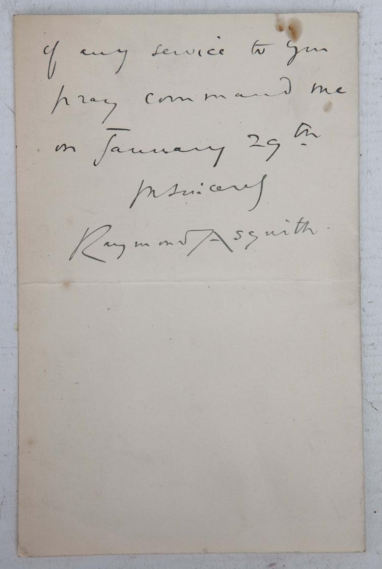 MANUSCRIPTS - A small collection including Raymond Asquith, autograph letter, dated 8 Jan 1909, stating that he cannot attend a 'meeting on the 29th'; a letter from Adolphus, Duke of Cambridge, dated July 5th 1848; and The [Duchess?] of Beaufort, letter dated Jan 6th 1922. (5)