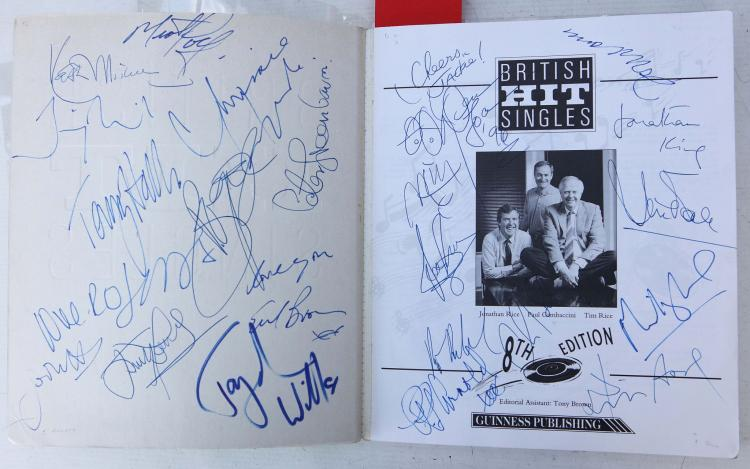 ENTERTAINMENT - British Hit Singles. [Middlesex]: Guinness Publishing, 1991. 4to. Original green wrappers. SIGNED on the title page by Meatloaf, Chrissie Hynde, Peter Green, Terry Hall, Keith Michell, Boy George, Midge Ure, Jules Holland, Chris Rea, David Soul, Burt Bacharach, Jonathan King and others. With 5 other books relating to popular entertainment including Denis Gifford's The British Film Catalogue 1895-1970 (Newton Abbot, 1973). Provenance: Michael Winner (bookplate). (6)