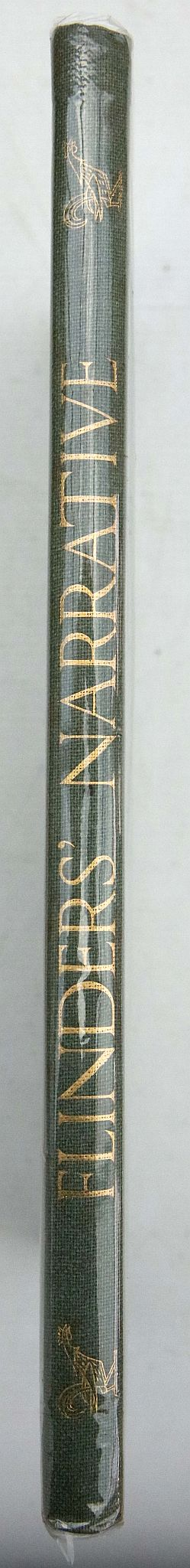 RAWSON, Geoffrey. Matthew Flinders' Narrative of His Voyage in the Schooner Francis: 1798 Preceded and Followed by Notes on Flinders, Bass, the Wreck of the Sideny Cove &C. [London]: The Golden Cockerel Press, 1946. Folio. Woodcut frontispiece, woodcuts in the text. Original green pictorial cloth, gilt (light staining, minor bumping to corners). LIMITED EDITION OF 750 COPIES OF WHICH THIS IS NUMBER 592.