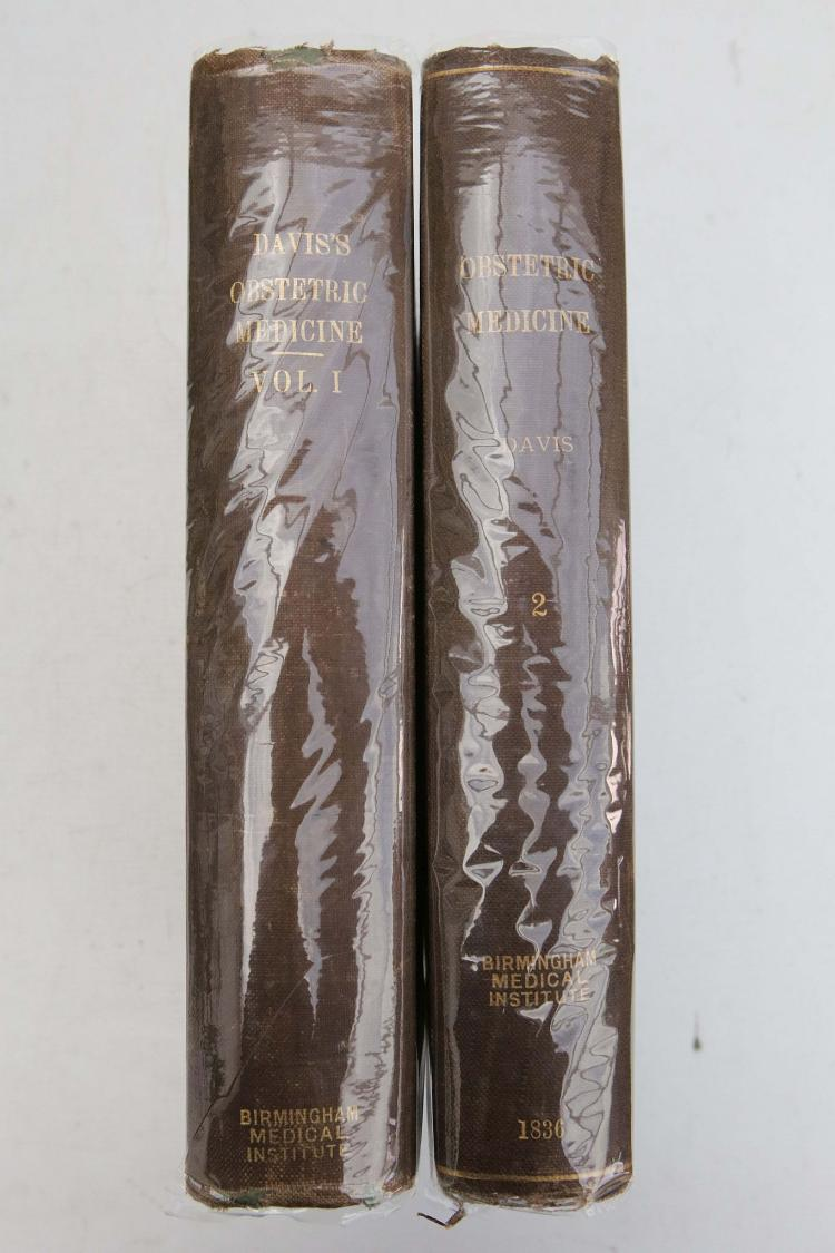DAVIS, DAVID D. The Principles and Practice of Obstetric Medicine, in a series of Systemic Dissertations on Midwifery and on the Diseases of Women and Children. London: Taylor and Walton, 1836. 2 volumes, folio. 66 plates, some folding or doubles (of 70), erratically numbered. (Occasional staining, spotting). Contemporary brown pebbled cloth (rubbed). (2)