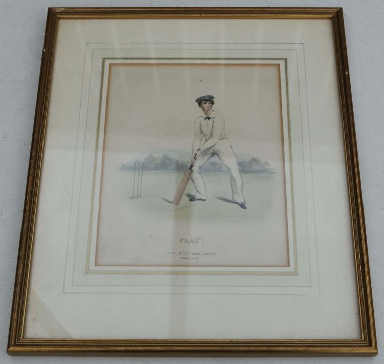 CRICKET - 4 chromolithographs depicting cricketers in various batting poses, including 'Leg Half Volley', 'The Cut', 'Home Block' and 'Play'. London: Baily, Brothers, [c.1855]. Framed and glazed. Dimensions of images: 170mm x 220 mm (4).