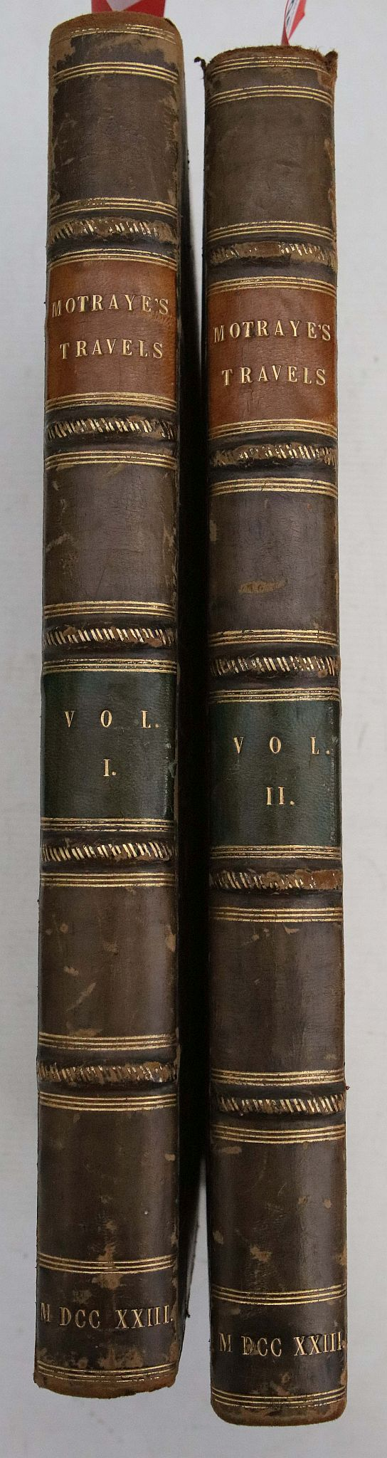 MOTRAYE, A. de la. Travels Through Europe, Asia, and into Part of Africa. London: Printed for the Author, 1723. 2 volumes, folio. 47 plates (including frontispiece to both volumes, some plates folding and maps). (Spotting, light browningand occasional tears to plates) Later half calf (rubbed). Provenance: J. Alexander Pierson (bookplate), Hugh Macamdsen (signature). (2)