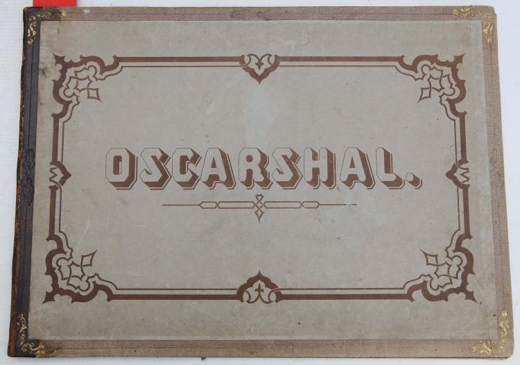 Oscarshall. Christiania [ie. Oslo]: Tønsberg, [?1852]. Folio (295 x 400mm.). Chromolithographed title and 7 plates with 8-pages of text in 3 languages (some spotting and light water staining). Original calf-backed boards titled in brown (rubbed). FIRST EDITION. The Summer Palace of Oscarshall on the peninsula of Bygdoy, Oslo, was commissioned by King Oscar I and Queen Josephine, and completed in 1852.
