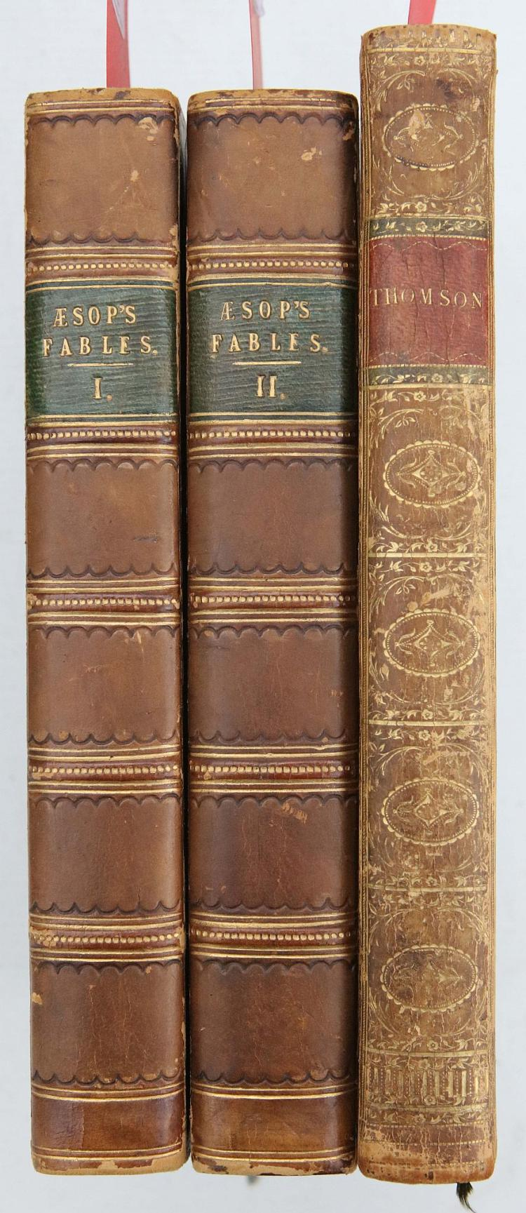 STOCKDALE, John (1750-1814, publisher).  The Fables of Aesop. With a Life of the Author: and Embellished with one Hundred & twelve Plates. London: John Stockdale, [probably 1793]. 2 volumes, 8vo. Engraved titles with vignettes and plates (titles trimmed with partial loss of imprint, including dates, some spotting). Later purple half calf with pebbled boards (rubbed). Provenance: William James (bookplate). [?]FIRST STOCKDALE EDITION. Bentley Blake 460 (note). Bentley cites a publisher's advertisement in another work which states that the Stockdale Aesop will contain plates by William Blake; however, none, in the present work are signed in the plate by him, so the matter remains one of speculation. With James Thomson's The Seasons (London, 1793). (3)