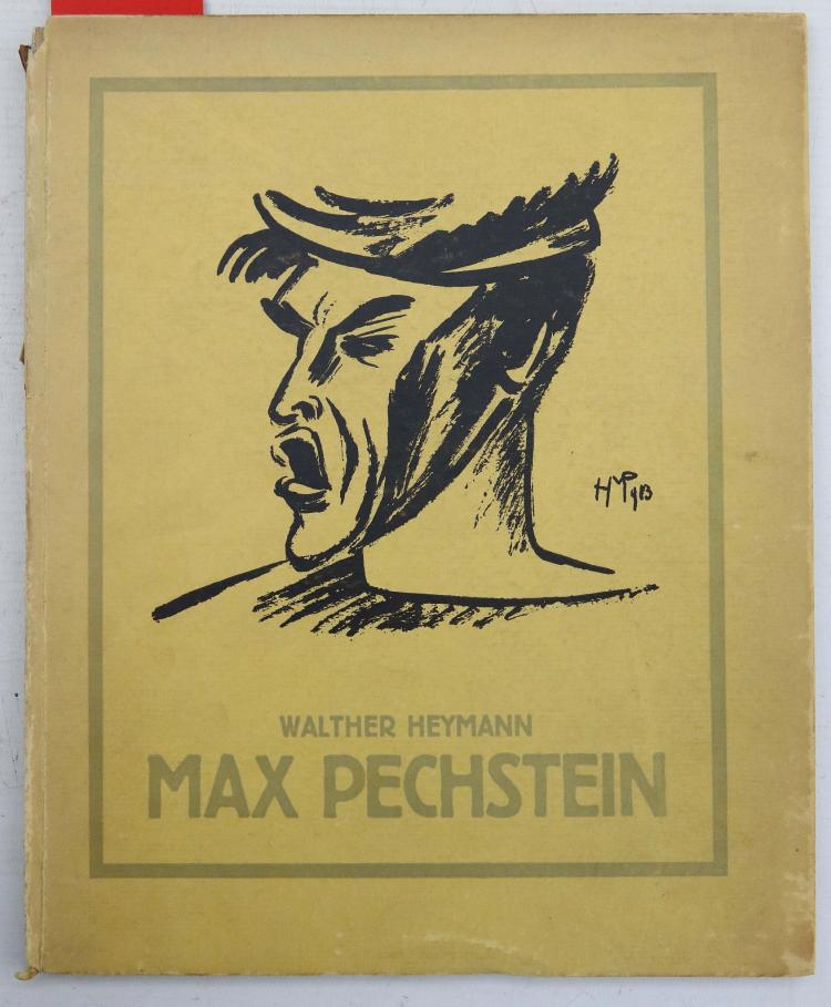 HEYMANN, Walther (1864 – 1941). Max Pechstein. Munchen: R. Piper & Co., 1916. Folio. (Occasional spotting). Original yellow pictorial boards (partially lacking backstrip, chipped). With 6 other works including Max Slevogt 's (illustrator), Ali Baba und die Vierzig Rauber. (Berlin, 1921), Hermann Struck's Die Kunst des Radierens., Ein Handbuch (Berlin, 1919). (7)