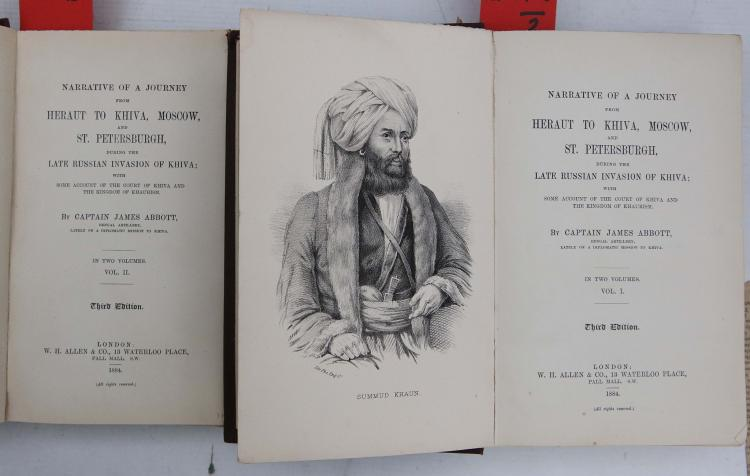 ABBOT, James (1807-96). Narrative of a Journey from Heraut to Khiva, Moscow, and St. Petersburgh, During the Late Russian Invasion of Khiva. London: W. H. Allen, 1884. 2 volumes, 4to. Engraved frontispiece in the first volume, folding map (map detached and torn, one leaf detached). Original red cloth (some fading to cloth). Mixed editions. With a collection of other works, some in German, including: Ernst HeinrichWackenroder 's Altes Und Neues Rügen, Das Ist, Kurtzgefasste Und Umständliche Nachricht Von Demjenigen, Was So Wohl In Civilibus, Als Vornemlich In Ecclesiasticis (No place, 1730). (16)