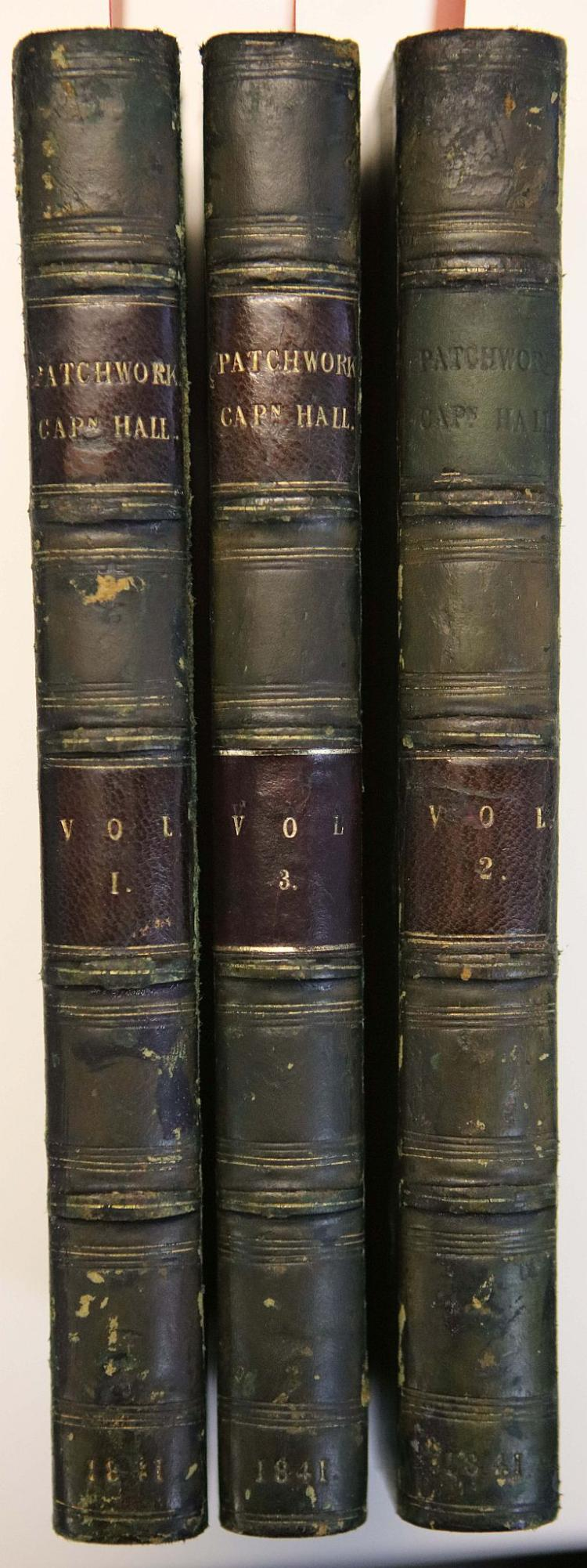 HALL, Basil (1788-1844).  Patchwork. London: Moxon, 1841. 3 volumes, 8vo. (Half titles to vols. II & III only, occasional spotting.) Contemporary green half calf (spines chipped, boards lightly rubbed). FIRST EDITION. PRESENTATION COPY, inscribed: