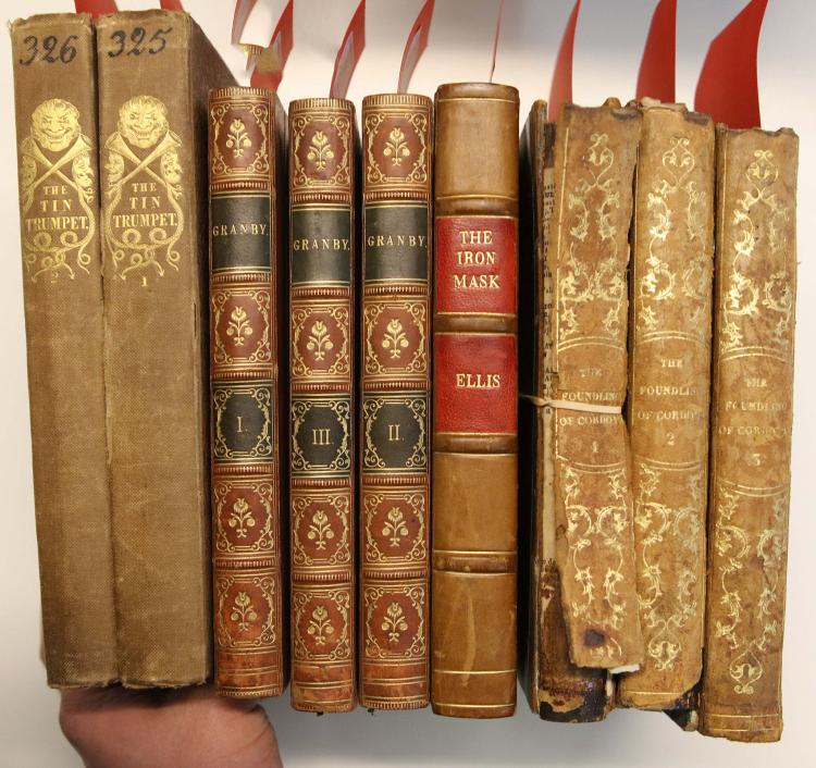 19TH CENTURY LITERATURE FIRST EDITIONS -Thomas LISTER's Granby A Novel (London, 1826, 3 vols),  John HENRY.  The Founding of Cordova. A Moorish Tale. (London: Thomas Hurst, 1842). 3 volumes, 8vo. (Occasional light spotting.) Contemporary calf (2 vols with boards detached, part of spine of one vol. lacking, rubbed). With 3 other works in 6 vols., namely George Agar Ellis' The True History of the State Prisoner, commonly called the Iron Mask (London, 1826), Paul Chatfield's The Tin Trumpet or, Heads and Tales, for the Wise and Waggish (London, 1836, 2 vols.). First mentioned novel is a finely bound copy of an important silver fork novel. (9)
