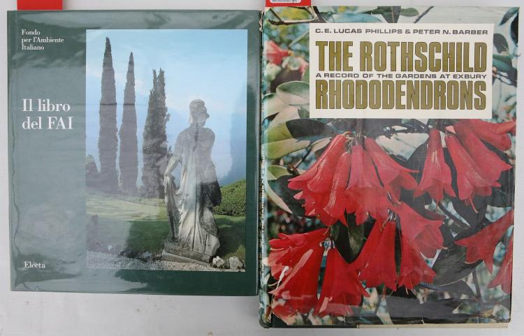 LUCAS, E. E. Phillips & Peter N. BARBER.  The Rothschild. A Record of the Gardens at Exbury. Rhododendrons. London: Cassell & Company, 1967. Folio. Original green and cream cloth, pink pictorial dust-jacket (torn with minor loss). PRESENTATION COPY, inscribed,