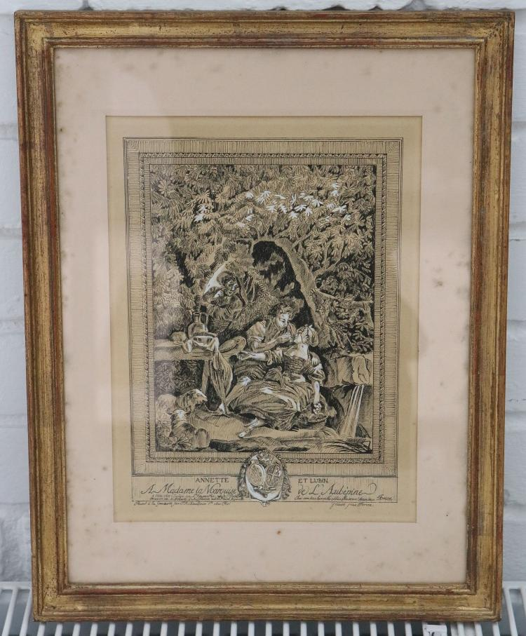 TROUSSEL, Georges (artist).  A pair of original pen and ink drawings by Georges Troussel, unsigned, being copies of two 18th-century engravings, entitled: