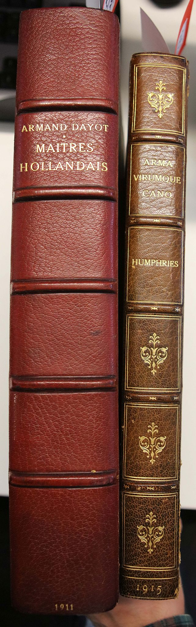DAYOT, Armand(1851–1934). Grands & Petits Maitres Hollandais. Paris: Georges Petit, [n.d]. Folio. Engraved portraits (occasional light spotting). Contemporary half red morocco by O. Herfurth,original wrappers bound in(boards rubbed). Provenance: Lammers (bookplate). LIMITED EDITION OF 650 COPIES OF WHICH THIS IS NUMBER 74. With Sydney Humphries' Arma Virumque Cano. [Edinburgh]: R & R Clark Limited, 1915. Folio (occasional light spotting). Contemporary half green morocco, binding by Orrock & Son (joints splitting, extremities rubbed). LIMITED EDITION OF 40 COPIES, this copy unnumbered. (2)