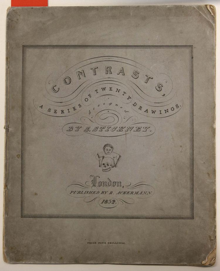 STICKNEY, Sarah (1799-1872). Contrasts. A series of twenty drawings, designed by S. Stickney.  London: R. Ackermann, 1832. 4to (289 x 237mm). 20 lithographed plates by George Smith of Liverpool (very light spotting at the margins, corners of leaves creased in places). Original printed blue/grey wrappers (covers a little dusty, chipping to corners with minor loss). FIRST AND ONLY EDITION of this scarce series of humorous drawings by the versatile artist Sarah Stickney who was a pupil of John Sell Cotman; these were her only published illustrations. She attained considerable fame as an educationist later in life under her married name, Sarah Ellis. RARE: COPAC locates only the V & A copy; OCLC locates 2 copies: Kent State and Yale.