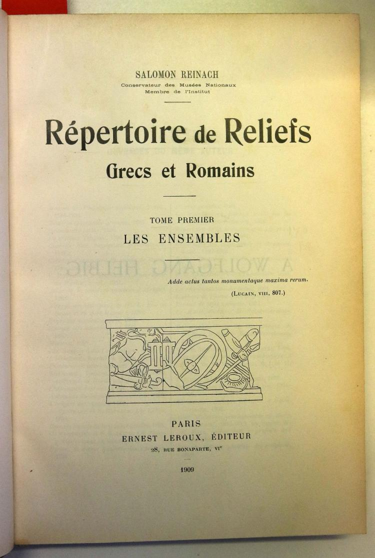 REINACH, Salomon. Repertoire de la statuaire Grecque et Romain. Paris Ernst Leroux, 1897-1924. 7 volumes in 5 with vols II and V in two vols with continuous pagination, 8vo.  Engraved plates. Provenance: Caroli Waldstein (bookplate)  With: Saloman Reinach's.  Repertoire des vases peints Grecs et Etrusques. Paris, Ernst Leroux, 1899-1900. 2 vols, 8vo. Engraved plates. Provenance: Caroli Waldstein (bookplate)  With: Salomon Reinach's.  Recueil de Têtes antiques idéales ou idéalisées. Paris, Gazette des Beaux-Arts, 1903. Large 8vo, with 276 plates. Provenance: Newton Hall, Cambridge (bookplate).  With: Salomon Reinach's Repertoire de Peintures du Moyen Age et de la Renaissance (1280-1580). Paris, Ernst, Leroux, 1905-1922. 8vo, 5 vols. Provenance: Caroli Waldstein (bookplate) With: Salomon Reinach's. Repertoire de reliefs Grecs et Romaine. Paris, Ernst Leroux, 1909-1912. 4to, 3 vols. Provenance: Newton Hall, Cambridge (bookplate).  Contemporary half brown morocco with brown pebbled boards (rubbed). (16)
