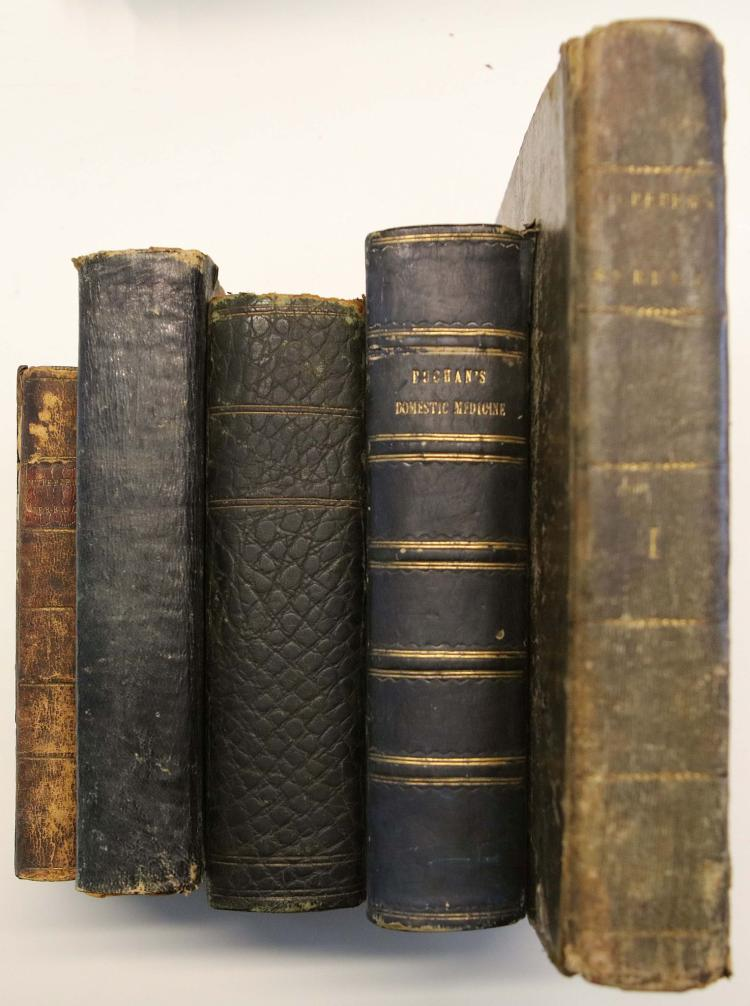 MISCELLANY - Including: John Quincy's Pharmacopoeia Officinalis Extemporanea. Or, A Complete English Dispensatory. (London, 1742), Nicholas Culpepper's The English Physician (London, 1794) (Lacking upper board), Culpeper's English Physician and Complete Herbal (London, [c.1795]), William Meyrick's The New Family Herbal or, Domestic Physician (Birmingham, 1790), George Wallis' The Domestic Medicine: or Universal Family Physician (London, 1802). Sold not subject to return. (5)