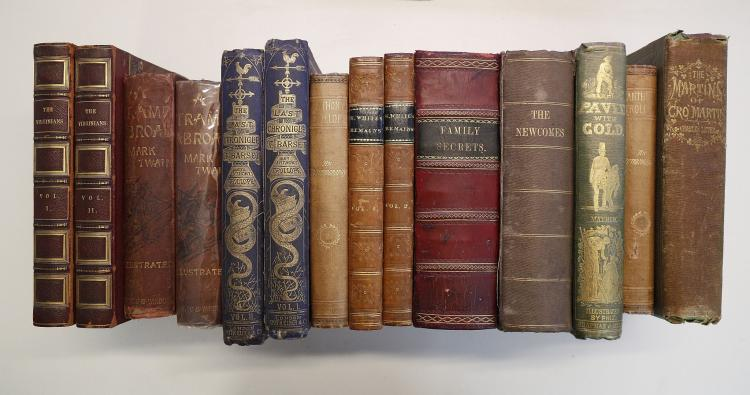 19TH CENTURY LITERATURE - FIRST EDITIONS. W. M. Thackeray.  The Virginians. London: Bradbury & Evans, 1858. 2 volumes, 8vo. (Occasional spotting.) Contemporary half red roan (rubbed).  With Family Secrets or Hints to Those Who Would Make Home Happy (London, [?1841]), Thackeray's The Newcomes (London, 1854, 2 vols in one, signature and bookplate of F. A. Harman Oates and Robert Washington Oates) Augustus Mayhew's Paved With Gold (London, 1858), Anthony Trollope's The Last Chronicle of Barset (London, 1867, 2 vols.), and a small collection of other works of related interest. (14)