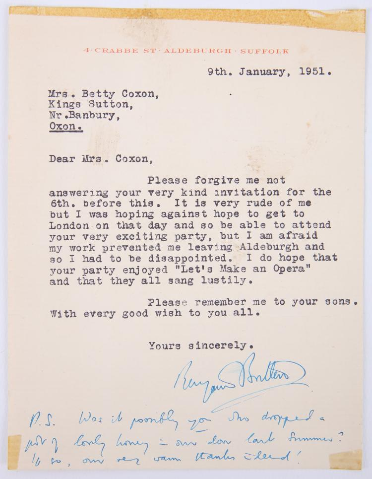 BRITTEN, Benjamin (1913-76). A one-page typed and autograph letter, signed, on paper headed, in red,