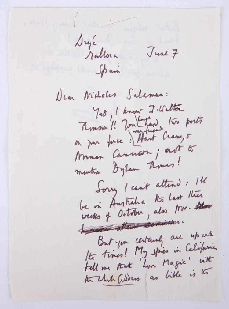 GRAVES, Robert (1895-1985). A two-page autograph letter, signed, headed,