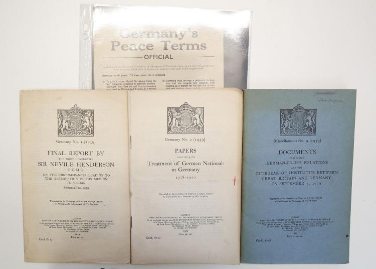 SECOND WORLD WAR - A small collection of documents and publications including official Government documents on German-Polish Relations and the outbreak of WWII, dated 1939; the official report of the treatment of German Nationals in Germany 1938-39, dated 1939, and the final report by Sir Nevile Henderson, Ambassador to Germany, on the closure of the British Embassy in Berlin, also dated 1939. Effectively, the official versions of the outbreak of WWII. Together with a printed flyer issued by the British Council for Christian Settlement in Europe, setting out Germany's peace terms in 1939. An important group of publications, including some of the first records of Nazi atrocities to their own people.