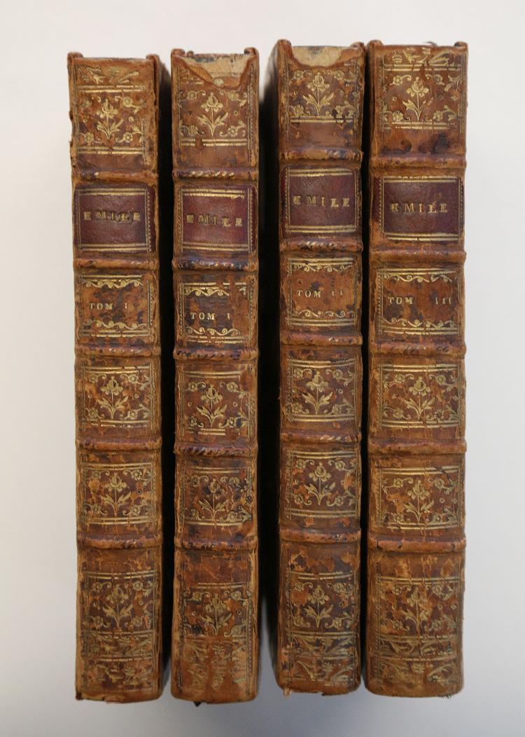 ROUSSEAU, J.J. Emile, ou de L'education. Geneva: [no publisher], 1780. 8vo. 4 volumes (occasional light spotting). Contemporary calf (worn). (4)