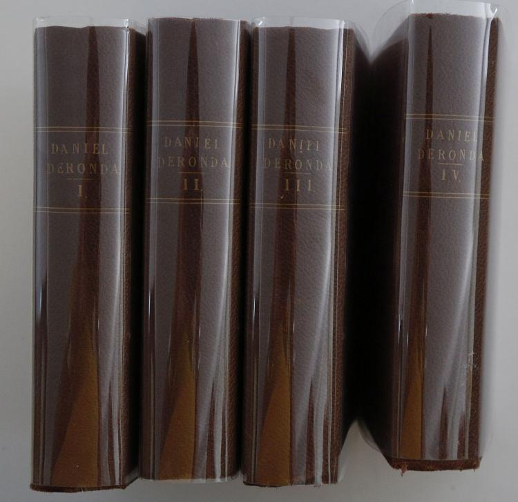 ELIOT, George (1819-80). Daniel Deronda. Edinburgh & London: William Blackwood and Sons, 1876. 4 volumes, 8vo. (Occasional light spotting, without final leaf of advertisements in volume 4). Contemporary brown/purple pebbled cloth, spines titled in gilt (lightly rubbed). With misspelling of responsive as 'reponsive' on pp. 83, volume one. FIRST EDITION. Sadleir 813a.