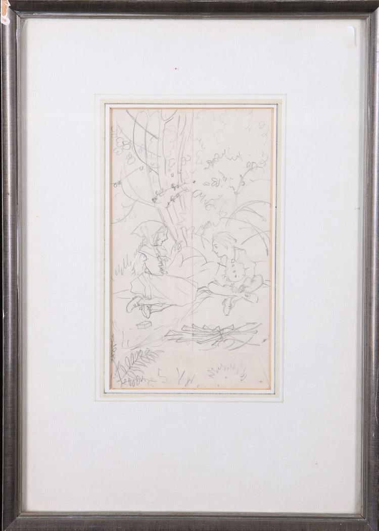 RACKHAM, Arthur (1867-1939).  Two original pencil drawings by Arthur Rackham on either side of a white