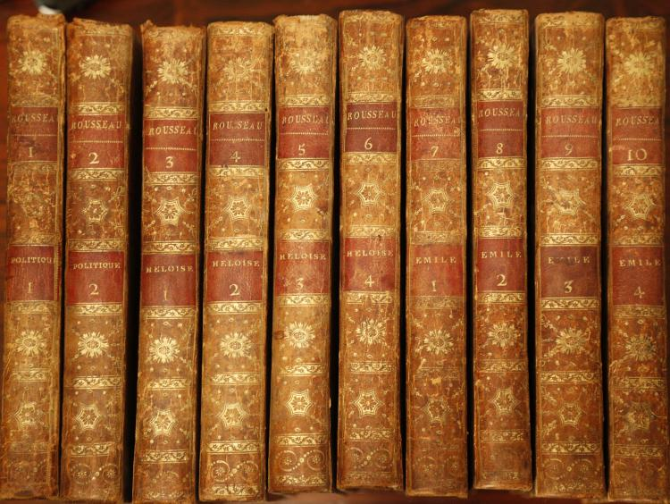 ROUSSEAU, J.J. Oeuvres Completes de J.J. Rousseau. Lyon : [J.S. Grabit?] 1796. 33 volumes, 8vo. (Occasional light spotting). Contemporary calf, boards ruled in gilt (some joints splitting, spines and boards lightly rubbed). Provenance: Ex Libris Bernardi Billardet (bookplate) (33)